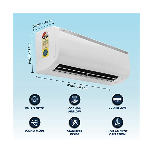 Daikin 1.5 Ton 3 Star Inverter Split AC (Copper, PM 2.5 Filter, 2020 Model, FTKT50TV, White) 2021 July Split AC with inverter compressor: Variable speed compressor which adjusts power depending on heat load. It is most energy efficient and has lowest-noise operation 1.5 Ton Energy Rating: 3 Star: , Annual Energy Consumption (as per energy label): 1024 units, ISEER Value: 3.99