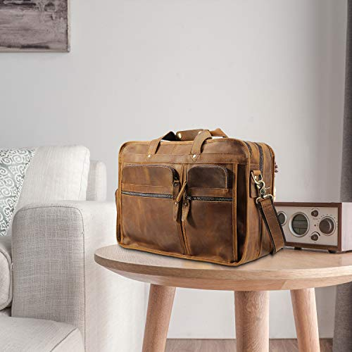 Polare Men's 17'' Full Grain Leather Messenger Bag for Laptop Briefcase Tote by Polare (Image #1)