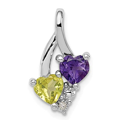 Sonia Jewels Sterling Silver Simulated Amethyst & Simulated Peridot Diamond Pendant (11mm x ()
