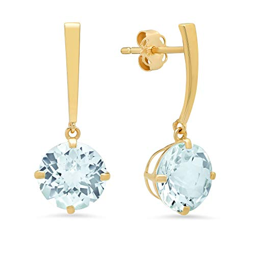 14k Yellow Gold Solitaire Round-Cut Aquamarine Drop Earrings (8mm)