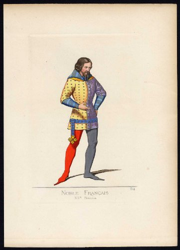 Antique Print-NOBLE FRENCHMAN-COSTUME-14TH CENTURY-PLATE 84-Bonnard-Mercuri-1860