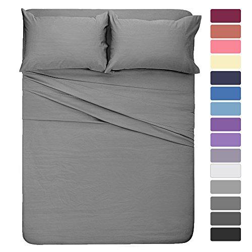HOMEIDEAS 4 Pieces Bed Sheet Set Full Sheet Gray Super Soft Microfiber Bedding Sheet 16-Inch Deep Pockets,Hypoallergenic & Fade Resistant