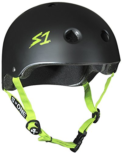 Blk Xl Helmet - S-ONE Lifer CPSC - Multiple Impact - CPSC Certified (Black Matte w/Bright Green Straps, X-Large (22.5