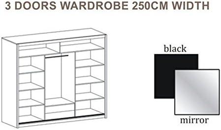 Puerta corredera gran armario con espejo 250 cm, ancho VISTA negro por DAKO: Amazon.es: Hogar