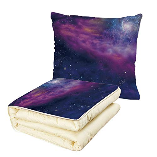 iPrint Quilt Dual-Use Pillow Outer Space Decor Spiritual Dim Star Clusters Milky Circle Back with Solar System Elements Multifunctional Air-Conditioning Quilt Purple Blue by iPrint