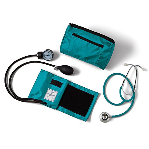 - Medline Compli-Mates Aneroid Sphygmomanometer and Dual Head Stethoscope Kit, Carrying Case, Adult Blood Pressure Cuff, Manual, Professional, Teal