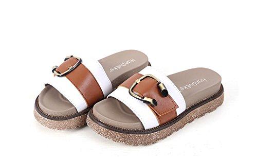 de Métal Confort Boucle Chaussures Plein Filles Pantoufles Blanc à Air Summer Femmes Shopping 43 Sandales en Fashion Blanc 34 L'Extérieur Noir Sandales O07xfqfw
