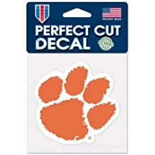 "Clemson Tigers Paw Primary Logo Perfect Cut Decal 4"" x 4"" (Colored)"