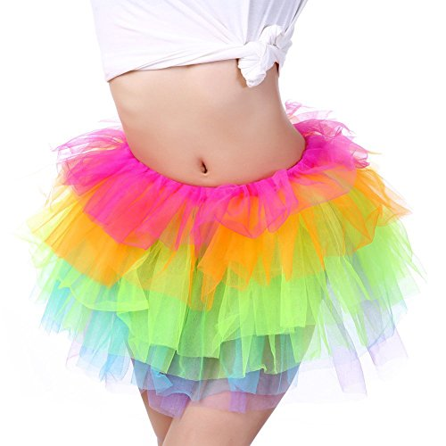 Women Great Organza princess Tutu Party Dance Skirt Ballerina Dress Petticoat Rainbow ()