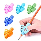 Pencil Grips-Children Pen Writing Aid Grip Set Posture Correction Tool for Kids Preschoolers Children Hollow Ventilation 5 Colors Package By FENGWANGLI