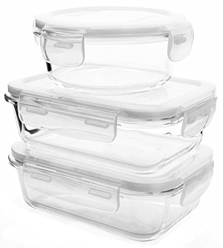 [3-Pack] Glass Meal Prep Containers - Food Prep Containers, Food Storage Containers With Lids, Lunch and Work Food Portion Control - BPA Free Airtight containers, Microwave, Freezer, Dishwasher Safe (Milk Glass Sandwich)