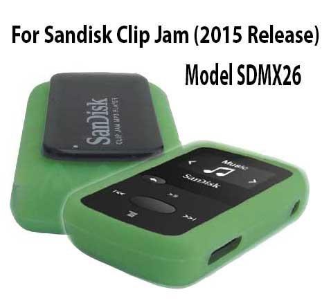 Silicone Skin Case Cover For SanDisk Clip Jam MP3 Player 2015 Release (Model SDMX26), Green