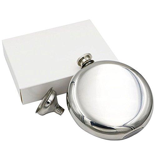 JUJOR Pie Round Flask 5 oz. Stainless Steel 18/8 Mirror -