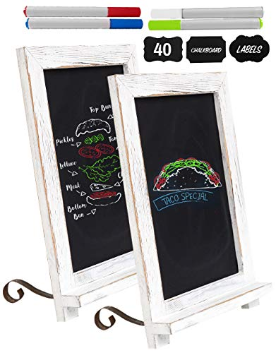 Rustic Chalk Board Signs (Set of 2) with 4 Chalk Markers and 40 Chalkboard Labels! Mini Magnetic Chalkboard Sign - Standing and Hanging Chalkboards! Small Blackboard for Rustic Wedding Decorations