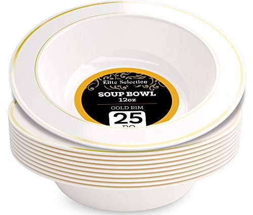 Disposable Plastic Bowls Pack Of (25) Elegant Soup bowls - Wedding - Party Bowls - Fancy Disposable - China Look- White With Gold Rim - Catering - Heavy Duty & Non-Toxic 12 oz by ELITE SELECTION ()