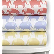 Magnolia Organics Elephant Crib Sheet - Bassinet, Roxy