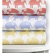Magnolia Organics Elephant Crib Sheet - Standard, Sky