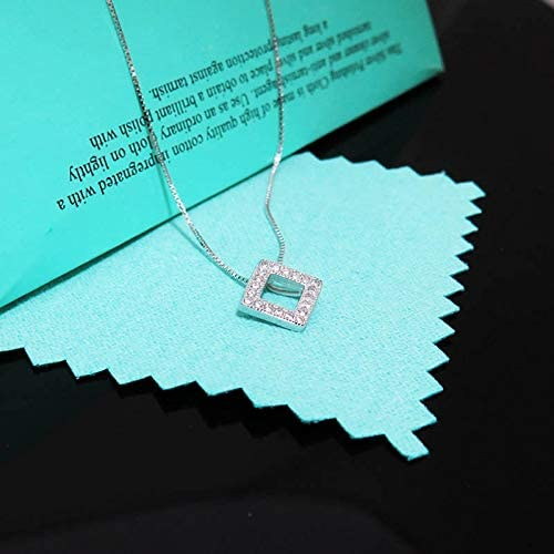 Geometric pendant necklace S925 sterling silver necklace positive box necklace water drill collarbone chain