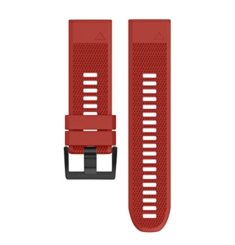 Price comparison product image Outsta for Garmin Fenix 5X Plus Watch Band,  Replacement Silicone Quick Release Easy Fit Wirstband Strap Accessories Smart Watch Bracelet Band Women Men Multicolor (Red)