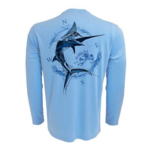 Rattlin Jack Men's UPF Sun Protection Fishing Shirts Silver Marlin XL Blue (Marlin Blue Fishing)
