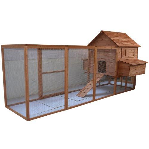 """Pawhut 144"""" Large Backyard Hen House Chicken Coop w/ Long Ru"""