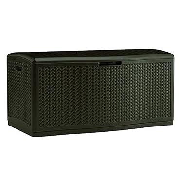 Suncast 124-Gallon Extra Large Wicker Deck Box, Java (BMDB12000)