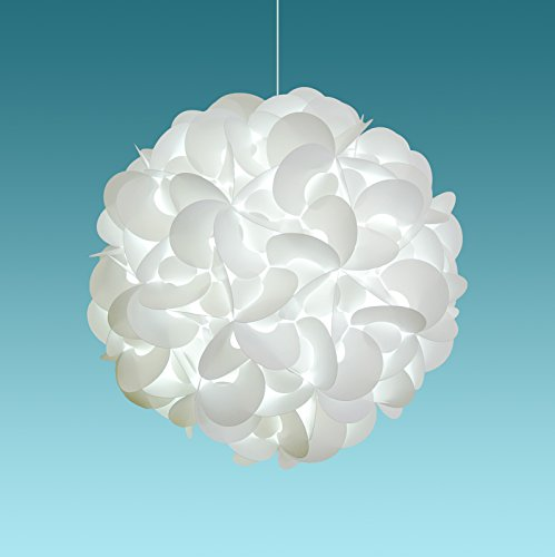 Akari Lanterns Deluxe Rounds 22 wide , Cool White Glow, Modern Unique Ceiling Hanging Light Fixtures Swag Plug in or Hardwire as Pendant Lamp Shade – Spiral bulb included, Easy to install