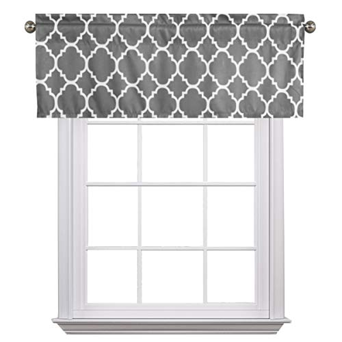 Mild Gray Valance Curtain Extra Wide and Short Window Treatment for for Kitchen Living Dining Room Bathroom Kids Girl Baby Nursery Bedroom 52