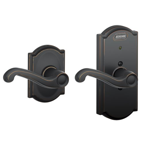 Schlage FE10 FLA 716 CAM Built-in Alarm, Camelot Collection Flair Hall and Closet Lever Door Lock, Aged Bronze ()