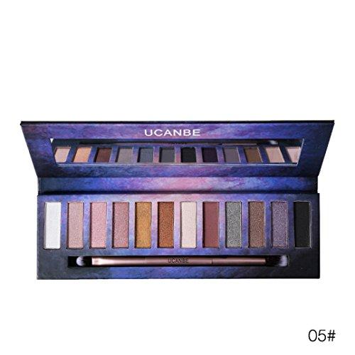 Matte Eyeshadow , Hunzed 12 Colors Cosmetic Powder Smoky Eye Shadow Natural Matte Eyeshadow Palette Cosmetics Makeup Set Matt Available (E)