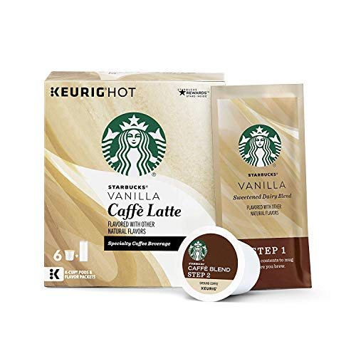 - Starbucks Vanilla Caffè Latte Medium Roast Single Cup Coffee for Keurig Brewers, 4 Boxes of 6 (24 Total K-Cup pods)