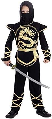 EUROCARNAVALES Disfraz de Ninja Negro y Dorado para niño: Amazon ...