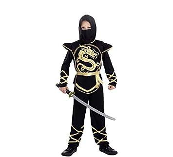 EUROCARNAVALES Disfraz de Ninja Negro y Dorado para niño ...