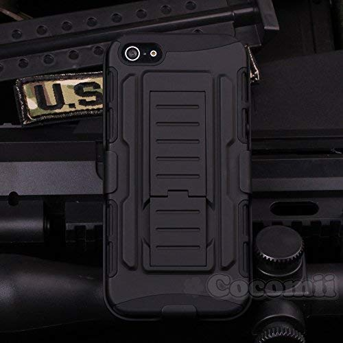 Cocomii Robot Armor iPhone 4S/4 Case New [Heavy Duty] Premium Belt Clip Holster Kickstand Shockproof Hard Bumper [Military Defender] Full Body Dual Layer Rugged Cover for Apple iPhone 4S/4 (R.Black) (Iphone 4s Case With Kickstand And Holster)