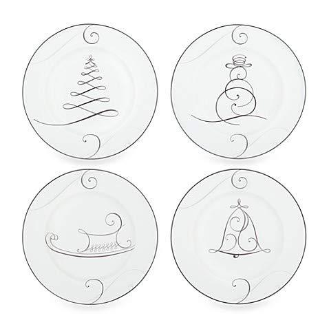 Noritake Platinum Wave Snowman/Bell/Tree/Sleigh Holiday Appetizer Plates (Set of 4)