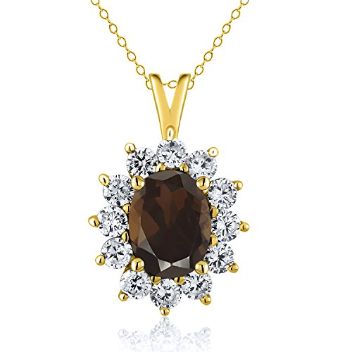 1.80 Ct Oval Brown Smoky Quartz 18K Yellow Gold Plated Silver Pendant ()
