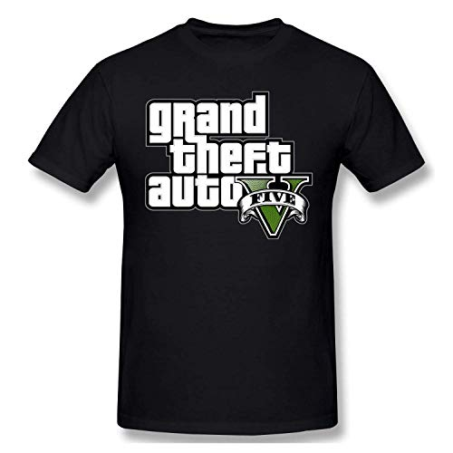 Mens GTA V Grand Theft Auto Five Logo Printed Short Sleeves Tee Funny Cotton T-Shirt,Black,XX-Large (Grand Theft Auto 5 Hints And Tips)