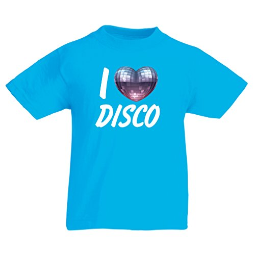 T shirts for kids I Love Disco - retro music clothing (3-4 years Blue Multi Color)