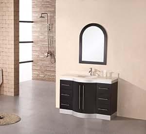 Design Element Jade Single Under-Mount Sink Vanity with Travertine Stone Countertop, 48-Inch