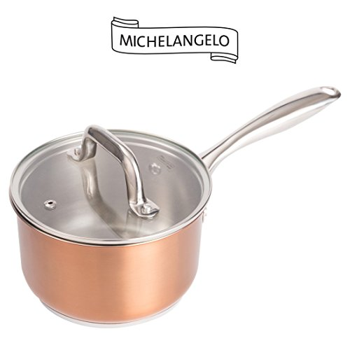 (MICHELANGELO 2 Quart Saucepan with Lid Rose Gold, Stainless Steel Sauce Pan, Small Saucepan with Cover, 2 Quart Sauce Pot, Induction Compatible)