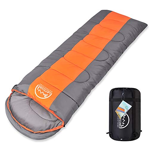 LATTCURE Sleeping Bag, Comfort Portable Lightweight Envelope Sleeping Bag with Compression Sack for Camping,Hiking,Backpacking,Traveling and Other Outdoor Activities -Single,Orange+Grey,(75+12) x33