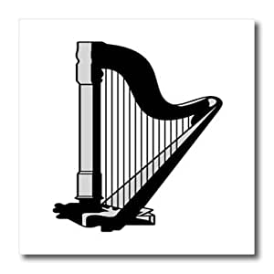 ht_41589_1 Florene Music - Black n Gray Harp - Iron on Heat Transfers - 8x8 Iron on Heat Transfer for White Material