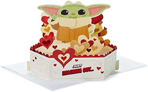 Hallmark Paper Wonder Star Wars Baby Yoda Pop Up Love Card, Valentines Day Card, or Anniversary Card (Reaching Out)