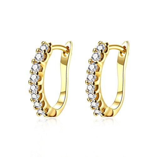 (Runsmooth Women Earrings Platinum / Gold Plated Inlay Cubic Zirconia U-Hoop Earrings for Womens Girls (Gold))