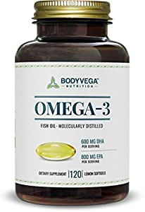 Omega 3 Fish Oil Triple Strength, Best for EPA & DHA, Fatty Acids, Burpless, 120 Softgels by BodyVega
