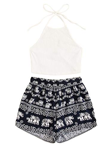 MAKEMECHIC Women's 2 Piece Outfit Summer Elephant Print Lace Crop Halter Top with Shorts Knit-Mutil Medium