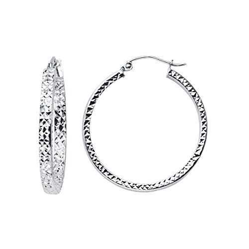 14K White Gold Full Diamond Cut Hollow Square Tube Hoop Earrings - (Diameter - 28mm) by Top Gold & Diamond Jewelry