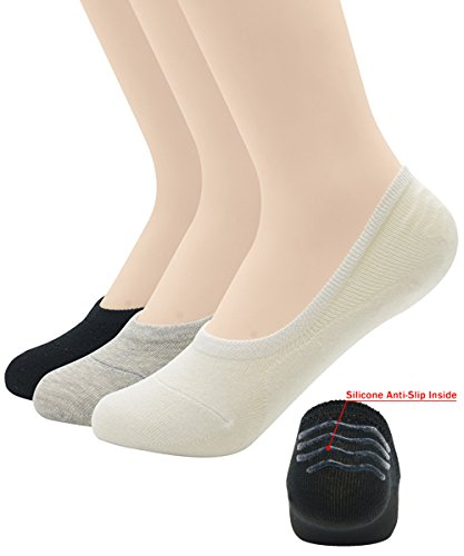 Passionate Adventure Unisex Bamboo Casual Hidden Flat Boat Line Socks Anti-Slip Low Cut No Show A 3 Pairs Black White Gray Shoe Size 5-8 (Sock Size - Sale Noten Men Dries Van