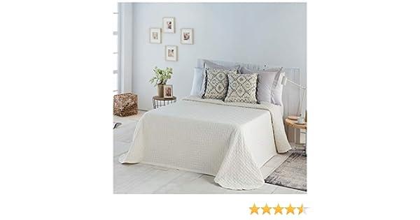 COTTON ART- Colcha PIQUE BEIGE Mod. BIDEA cama de 90 (180 x 260 cm). 80% ALGODÓN-20% POLIÉSTER