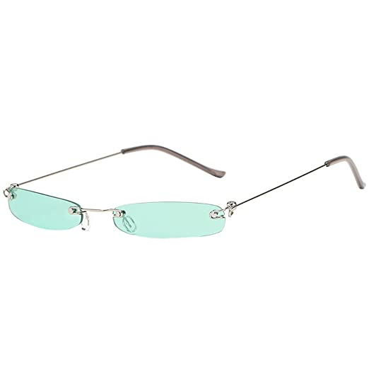 a8f267f346d78 JJLIKER Small Metal Frame Sunglasses for Men and Women Rectangular Rimless  Eyewear Lightweight Candy Color Goggles at Amazon Women s Clothing store